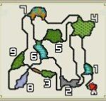 【モンハンダブルクロス・MHXX】渓流のフィールドマップ画像と主な特徴(釣り・竜の卵・山菜ジイさん・鉱石・虫・ハチミツの場所)