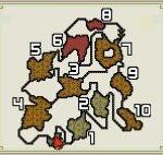 【モンハンダブルクロス・MHXX】火山のフィールドマップ画像と主な特徴(釣り・竜の卵・山菜ジイさん・鉱石・虫・ハチミツの場所)
