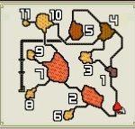 【モンハンダブルクロス・MHXX】旧砂漠のフィールドマップ画像と主な特徴(釣り・竜の卵・山菜ジイさん・鉱石・虫・ハチミツの場所)